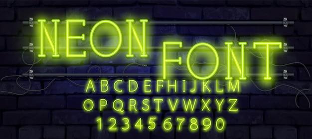 Неоновая трубка алфавит шрифт иллюстрации