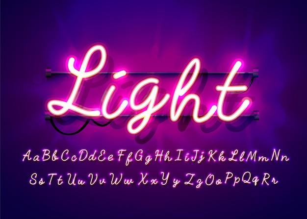 네온 튜브 손으로 그려진 된 알파벳 글꼴. 어두운 벽에 스크립트 유형 문자.