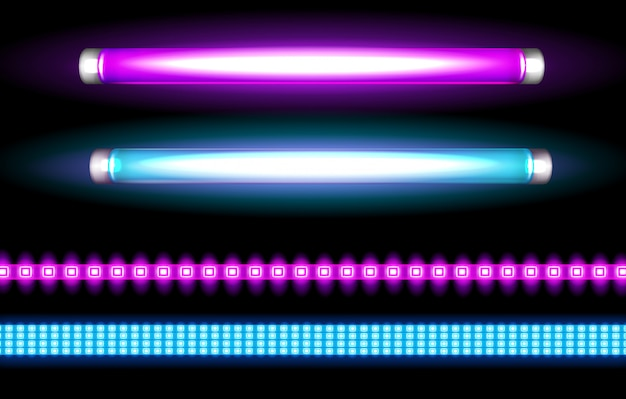 Neon tube lamps and led strips, long light bulbs