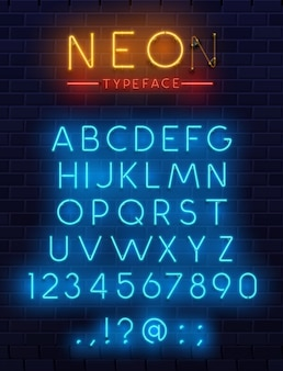 Neon type font, glowing  alphabet letters