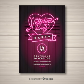 Neon valentine's day party poster template