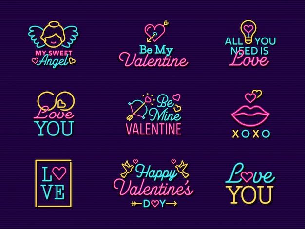 Neon valentine vector label signs