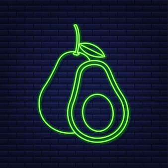 Neon vector avocado illustration. whole and cut out avocado. vector stock illustration.