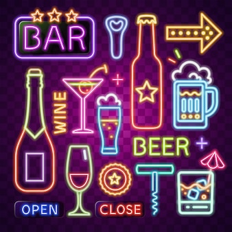Neon vector of bar item.