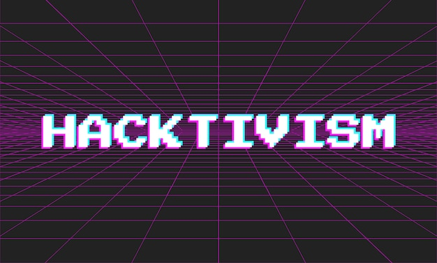 Neon vector hacktivism illustration with glitch effect on perspectival background.