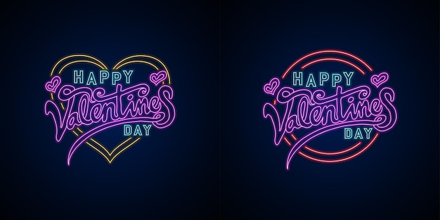 Neon vector happy valentines day lettering with love and circle