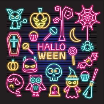 Neon vector set of halloween item