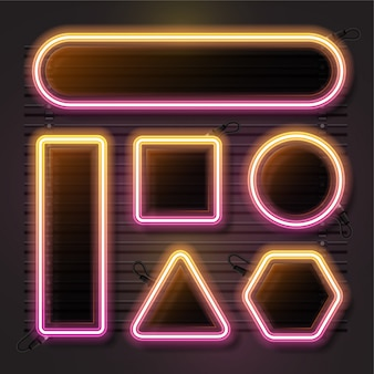 Neon vector set with geometry shape