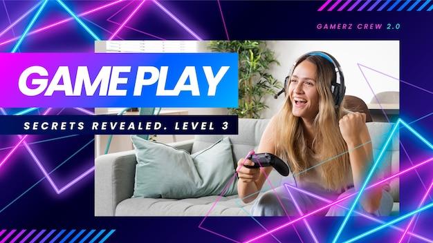 Copertina youtube del videogioco al neon