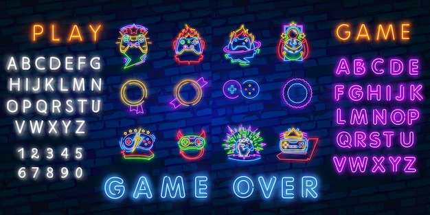Neon video games logos collection
