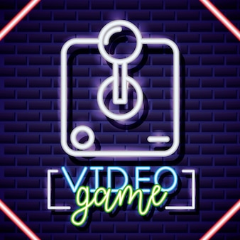 Neon video games and a neon control illustration