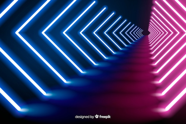 Neon wave lights stage background