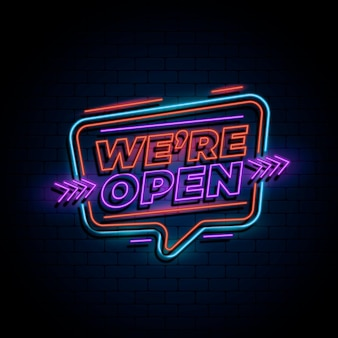 Neon 'we are open' sign