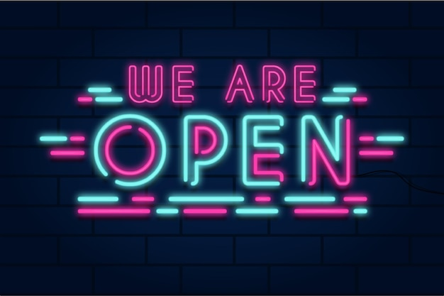 Neon we are open sign