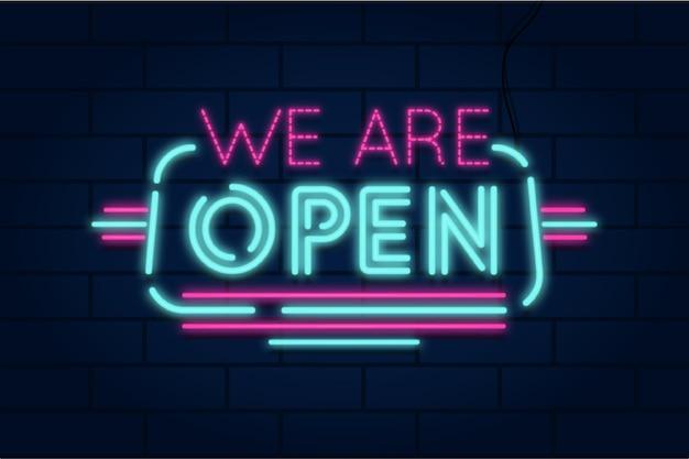 네온 우리는 오픈 사인입니다