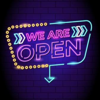 Неоновая вывеска «мы открыты»