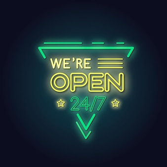 ネオン「私たちは開いています」サイン