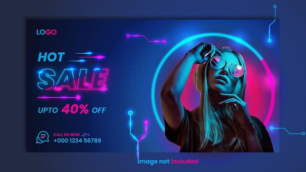 Neon web banner design for fashionable clothes sale.