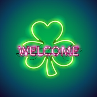 Neon welcome in clover sign
