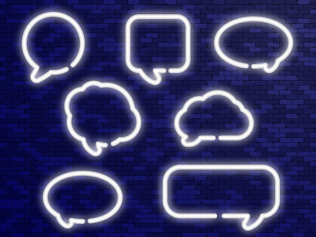 Neon white speech bubbles