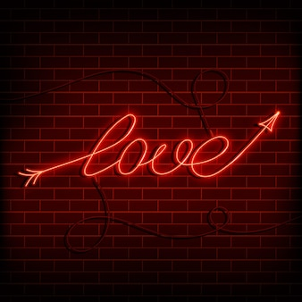 Neon word love a bright red sign on a brick wall element of design for a happy valentines day vector...
