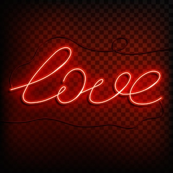 Neon word love. a bright red sign  element of design for a happy valentine's day.  illustration.