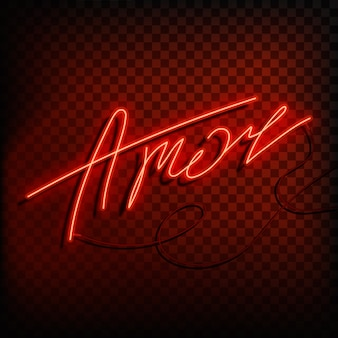 Neon word love in spanish and portuguese. a bright red sign on a on a transparent background.
