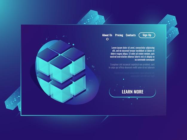 Neone cubo isometrico, concetto di pagina servizi di server, database