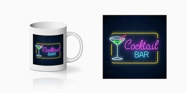Neonprint of nightclub with cocktail bar on ceramic mug mockup. design of a nightclub sign with karaoke and live music. vector illustration.
