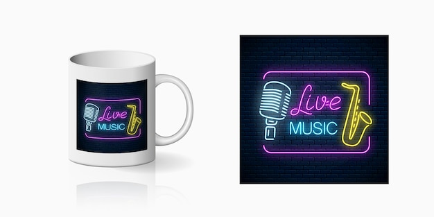 Neonprint of nightclub with live music on ceramic mug mockup including microphone and saxophone. design of a nightclub sign with karaoke and live music on cup.
