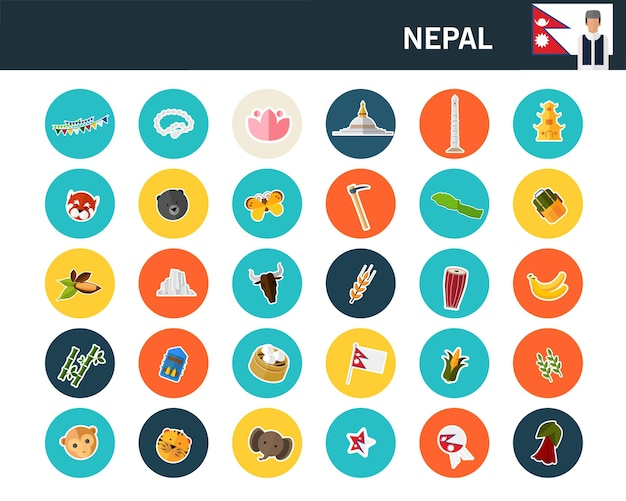 Nepal concept flat icons