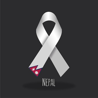 Nepal flag ribbon design