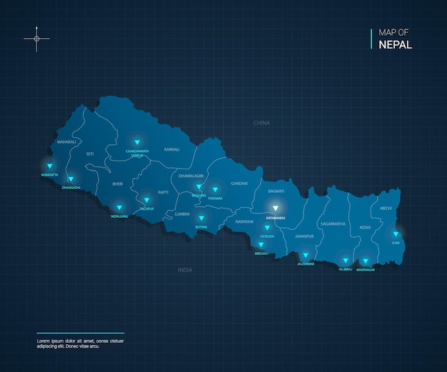 Nepal map with blue neon light points