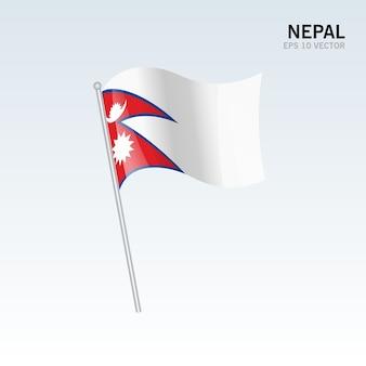 ネパール、灰色の背景に旗を振る