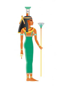 Nephthys ancient egyptian goddess. deity of mourning, night/darkness, childbirth, dead protection, magic, health, embalming. old historical art from egypt