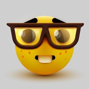 Смайлик-ботаник, умный смайлик в очках. компьютерщик или студент.