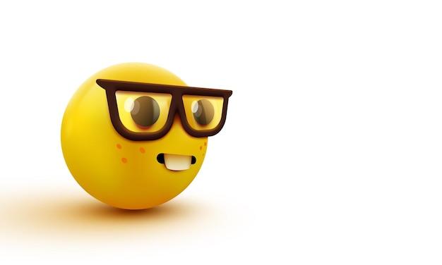 Лицо ботаника смайлики, умный смайлик в очках