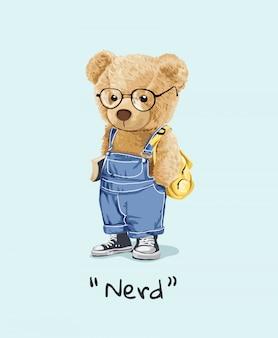 Nerd slogan cute bear toy in glasses illustration