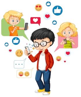Ботанистый мальчик с помощью смартфона в мультяшном стиле смайликов в социальных сетях на белом фоне