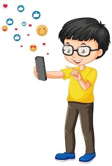 Ragazzo nerd utilizza smartphone con stile del fumetto icona emoji social media isolato su priorità bassa bianca