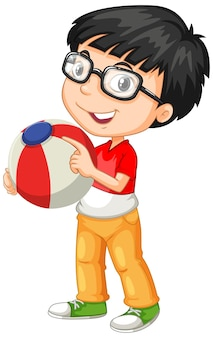 Nerdy boy wearing glasses holding color ball