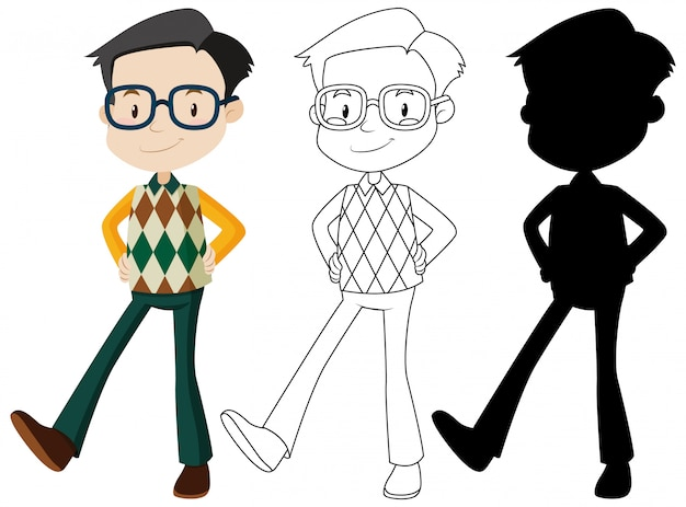 Nerdy man cartoon character set