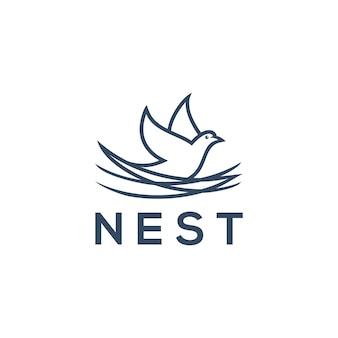 Концепция логотипа nest, значок птицы для дизайна логотипа