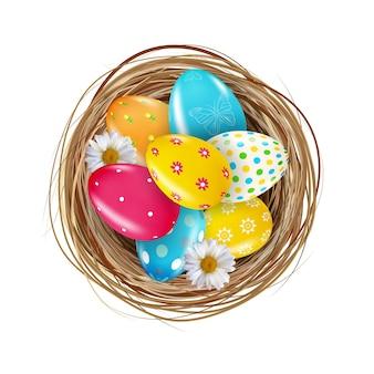 부활절 달걀과 둥지.