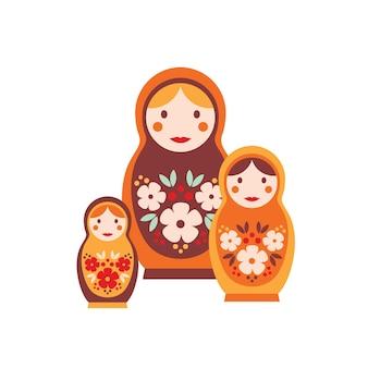 Матрешка плоская векторная иллюстрация. красочная матрешка, изолированная на белой предпосылке. деревянные куклы уменьшающегося размера помещались одна в другую. русская традиционная игрушка для детей.