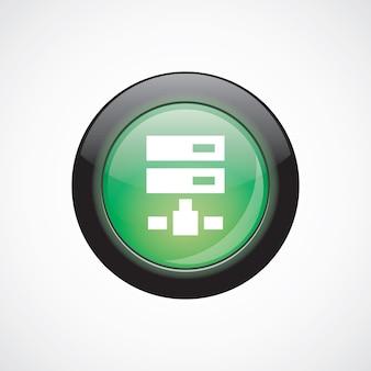 Чистый диск стекла знак значок зеленая блестящая кнопка. кнопка веб-сайта пользовательского интерфейса