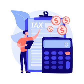 Net income calculating abstract concept vector illustration. salary calculation, net income formula, take home pay, corporate accounting, calculating earnings, profit estimation abstract metaphor.