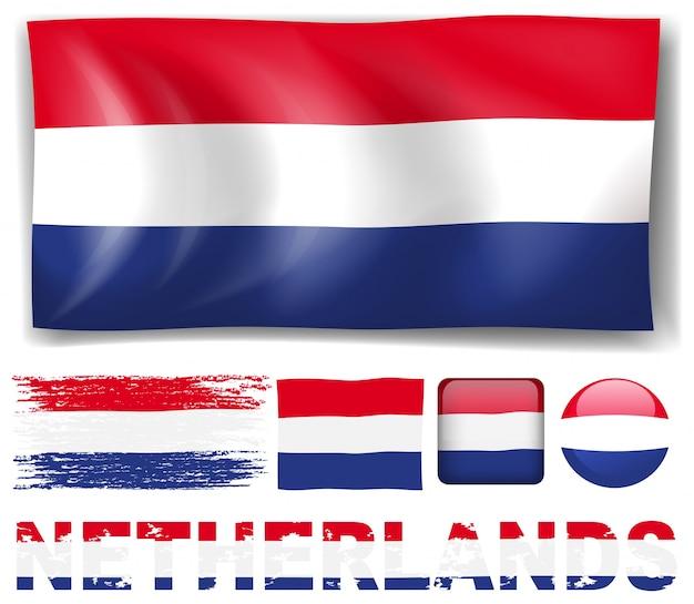 Netherland flag in different designs illustration