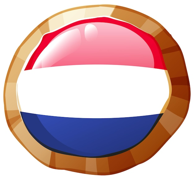 라운드 배지에 네덜란드 국기
