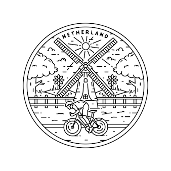 Netherland logo vintage monoline badge